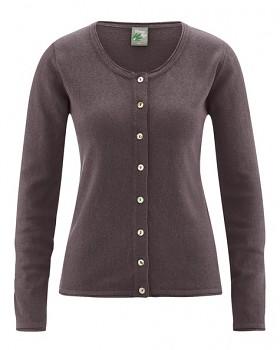 LOLA dámský pletený svetr z konopí a biobavlny - hnědá mocca