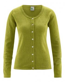 LOLA dámský pletený svetr z konopí a biobavlny - zelená fern