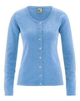 LOLA dámský pletený svetr z konopí a biobavlny - modrá heaven