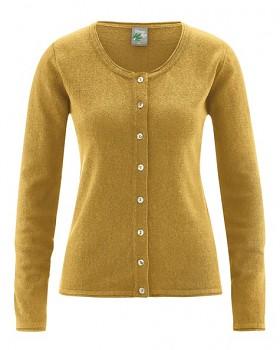 LOLA dámský pletený svetr z konopí a biobavlny - žlutá peanut