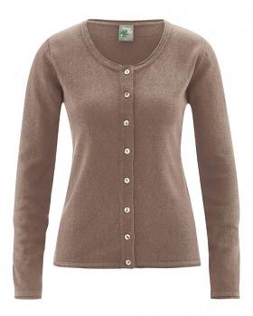 LOLA dámský pletený svetr z konopí a biobavlny - hnědá gravel