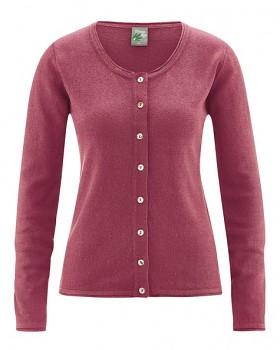 LOLA dámský pletený svetr z konopí a biobavlny - červená tinto