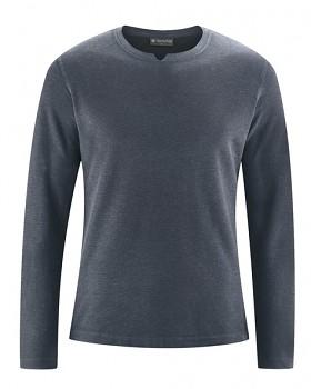 RAYMOND pánské tričko s dlouhými rukávy z konopí a biobavlny - tmavě šedá dark