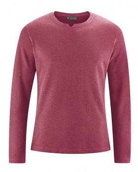 RAYMOND pánské tričko s dlouhými rukávy z konopí a biobavlny - červená tinto