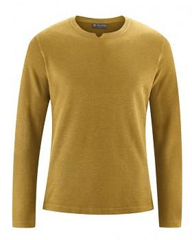 RAYMOND pánské tričko s dlouhými rukávy z konopí a biobavlny - žlutá peanut