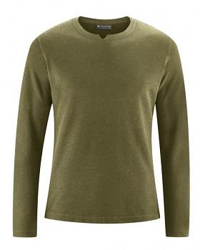 RAYMOND pánské tričko s dlouhými rukávy z konopí a biobavlny - khaki peat