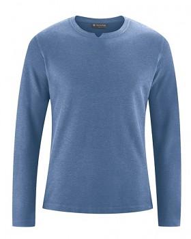 RAYMOND pánské tričko s dlouhými rukávy z konopí a biobavlny - modrá blueberry