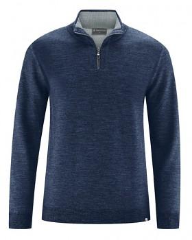 TROY pánský svetr z vlny, konopí a biobavlny - tmavě modrá navy