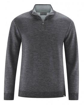 TROY pánský svetr z vlny, konopí a biobavlny - tmavě šedá antracit