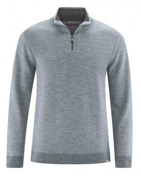 TROY pánský svetr z vlny, konopí a biobavlny - šedá mouse