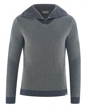 BRANDON pánský svetr (troyer) z konopí a biobavlny - šedá dark mouse