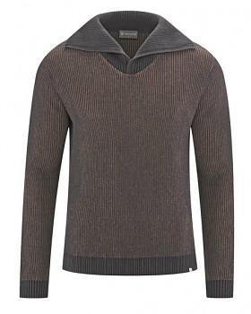 BRANDON pánský svetr (troyer) z konopí a biobavlny - hnědá gravel/ šedá antracit