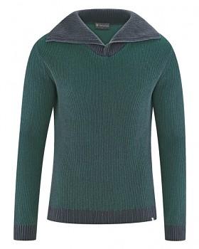 BRANDON pánský svetr (troyer) z konopí a biobavlny - zelená dark spruce