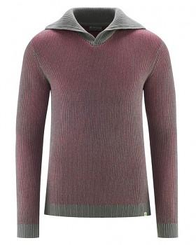 BRANDON pánský svetr (troyer) z konopí a biobavlny - červená tinto/ šedá mouse