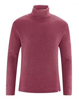NATHANIEL pánský rolákový svetr z konopí a biobavlny - červená tinto