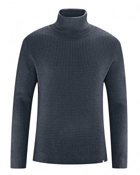 NATHANIEL pánský rolákový svetr z konopí a biobavlny - tmavě šedá dark