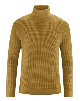 NATHANIEL pánský rolákový svetr z konopí a biobavlny - žlutá peanut