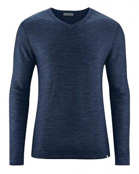 CARTER pánský pulovr z vlny, biobavlny a konopí - tmavě modrá navy