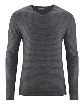 CARTER pánský pulovr z vlny, biobavlny a konopí - tmavě šedá antracit