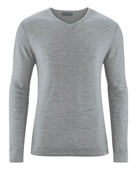 CARTER pánský pulovr z vlny, biobavlny a konopí - světle šedá rock