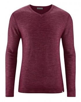 CARTER pánský pulovr z vlny, biobavlny a konopí - fialová rioja
