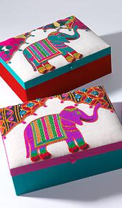 ELEPHANT velká šperkovnice s výšivkou - 3 barvy