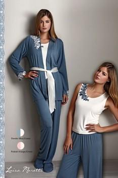 SADA - Dámské bambusové pyžamo s županem CARINA - modrošedá